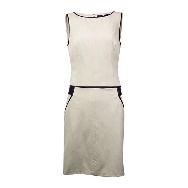 Lauren Ralph Lauren Women's Pleather-Trim Gabardine Dress - vanilla/black