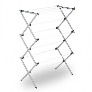 Honey-Can-Do DRY-01306 Deluxe Knockdown Metal Drying Rack, Silver/White, 23'