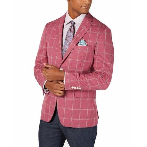 Tallia Mens Pink Size 50L Big & Tall Slim Fit Plaid Print Sport Coat