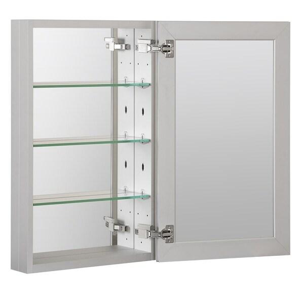 """Foremost MMC1930 30"""" x 4-5/8"""" Frameless Single Door Medicine Cabinet with Reversible Door Swing - Aluminum"""