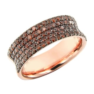 Prism Jewel 1.30Ct Round Cut Cognac Color Diamond Wedding Band