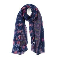 Large Polyester Scarves Beach Shawl Vintage Style Wraps For Women Navy Blue