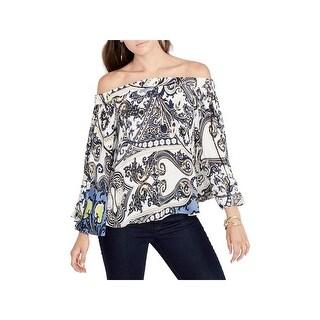 Rachel Rachel Roy Womens Pullover Top Printed Off-The-Shoulder