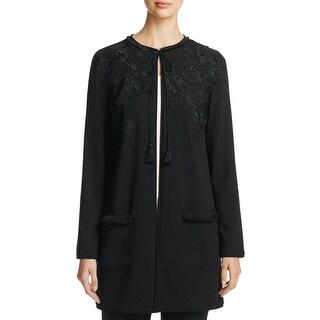 T Tahari Womens Jacket Lace Trim Long Sleeves