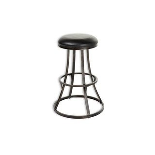 26 in. Dover Metal Barstool with Black Upholstered Swivel-Seat &