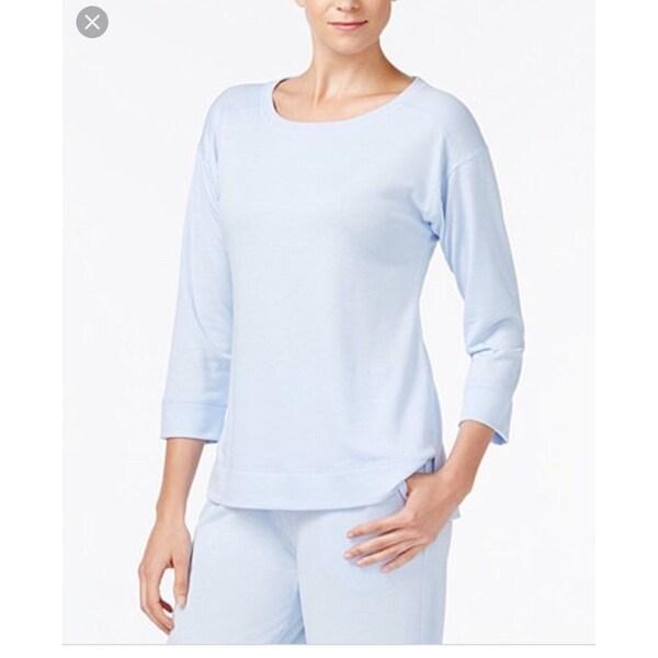 Charter Club Women's Ribbed-Trim Pajama Sleep Top Blue, Size XXXL - Blue - 3x