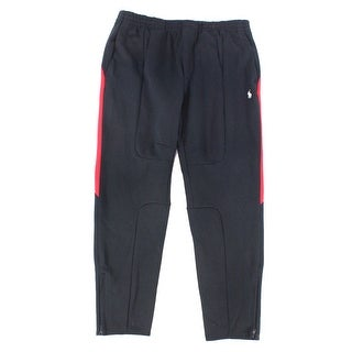 Polo Ralph Lauren NEW Black Red Mens Size XL Double-Knit Track Pants