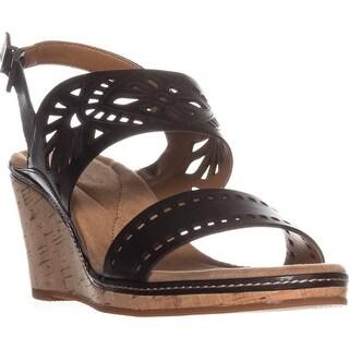 Easy Spirit Kristina Wedge Sandals, Black Leather