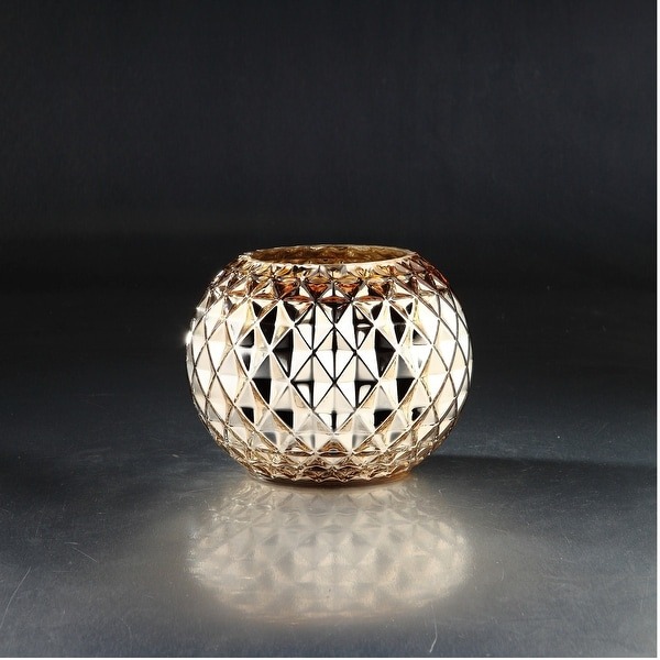 "8.5"" Metallic Gold Colored Diamond Pattern Glass Vase - N/A"