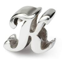 Sterling Silver Reflections Letter K Script Bead (4mm Diameter Hole)
