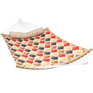 Sunnydaze Quilted Hammock with Curved Bamboo Spreader Bars - Multiple Options