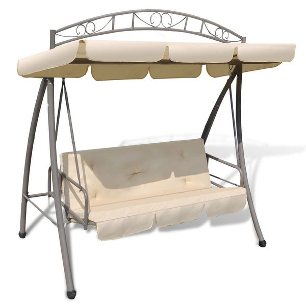 vidaXL Outdoor Swing Chair w/ Canopy Sand White Hammock Porch Garden Seat