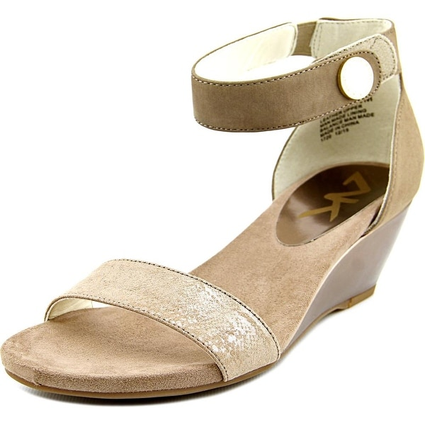 Anne Klein Sport Calbert Women Open Toe Leather Wedge Sandal
