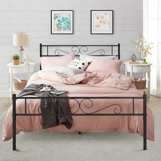 VECELO Twin/Full/Queen Easy Set-up Premium Metal Bed Frame Platform with Headboard and Footboard( Fixed Bed Frame,3 Opotion )