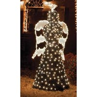 6.5' Giant Commercial Grade LED Lighted Angel Topiary Christmas Outdoor Decoration - green