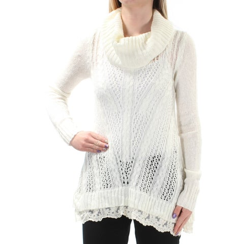 Womens Ivory Long Sleeve Turtle Neck Casual Sweater Size XS