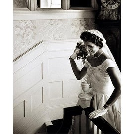 ''Jackie Kennedy Throwing Wedding Bouquet, September 12, 1953'' by McMahan Photo Archive Americana Art Print (10 x 8 in.)