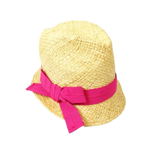97b6243088e898 Shop Bettina Women's Grosgrain Bow Straw Fedora - Natural/Fuschia - OS - Free  Shipping On Orders Over $45 - Overstock.com - 14814713