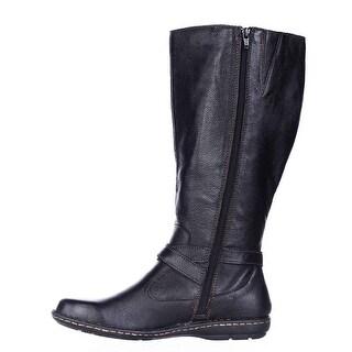 Born Womens Barbana Wide Calf Leather Round Toe Knee High Fashion Boots Fashi...