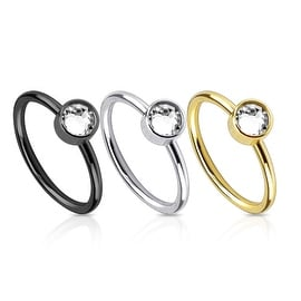 Ion Plated 316L Surgical Steel Nose Ring with Single CZ (Sold Ind.)