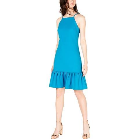Trina Trina Turk Womens Kenn Casual Dress Ruffled Sleeveless - Blue