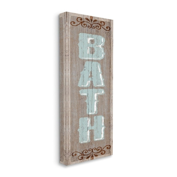 Stupell Industries Rustic Charm Bath Sign Blue Brown Family Bathroom Canvas Wall Art. Opens flyout.