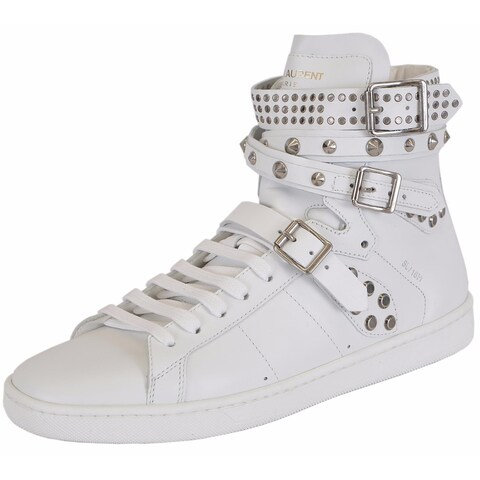 Yves Saint Laurent YSL Women's White Studded Court Classic Hi Top Sneakers Shoes