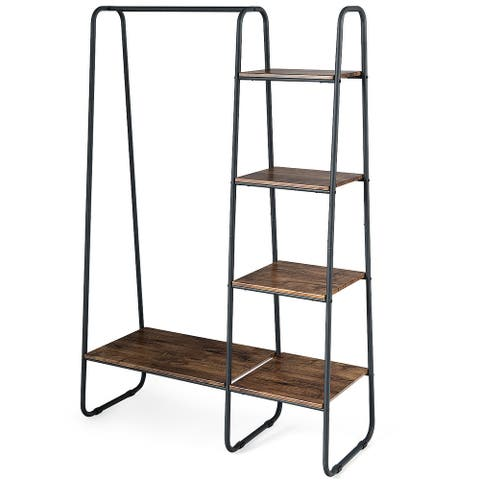 Costway Clothes Garment Rack Free Standing Storage Tower w/Metal Frame