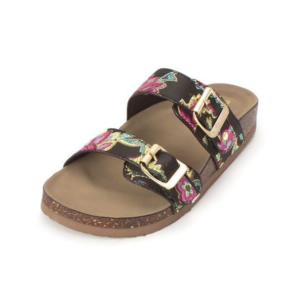 79d07b2a0 Shop Madden Girl Womens Brando Fabric Open Toe Casual Slide Sandals ...