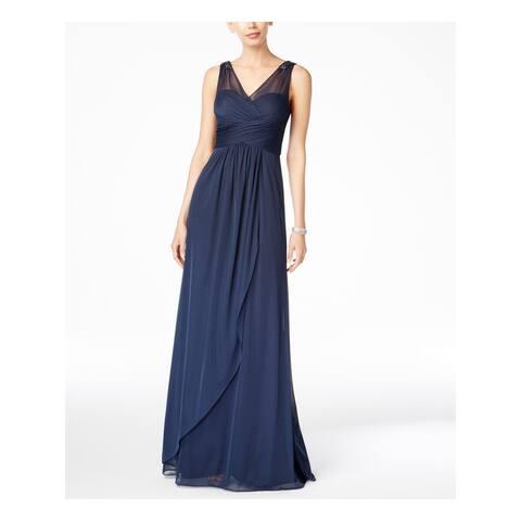 ADRIANNA PAPELL Navy Sleeveless Full-Length Dress 14