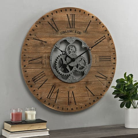FirsTime & Co.® Shiplap Farmhouse Gears Wall Clock - 27 x 2 x 27 in