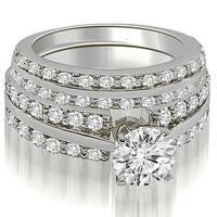 2.60 cttw. 14K White Gold Two Row Round Cut Diamond Bridal Set