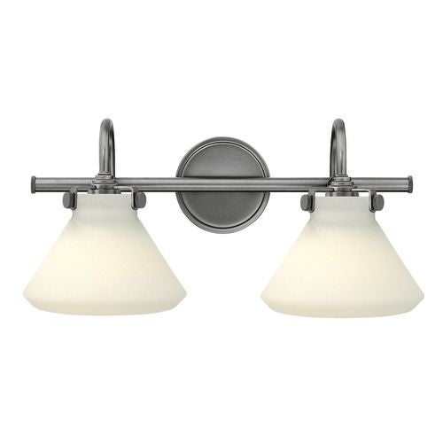 "Hinkley Lighting 50020 2 Light 19.25"" Width Bathroom Vanity Light with White Cone Shade from the Congress Collection"