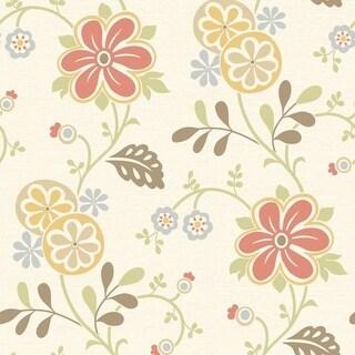 Brewster 2535-20677 Amelie Red Modern Floral Trail Wallpaper