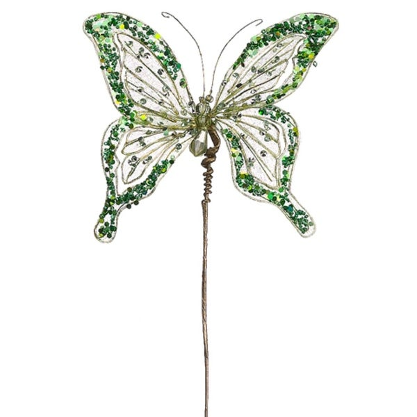 """16"""" Princess Garden Green Butterfly Jeweled & Beaded Floral Craft Pick"""