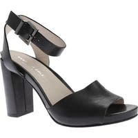 Kenneth Cole New York Women's Toren Ankle Strap Sandal Black Leather