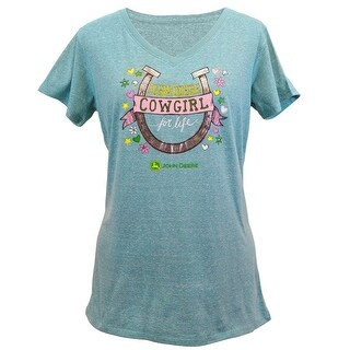 John Deere Western Shirt Womens Cowgirl Life S/S Turquoise 24225295