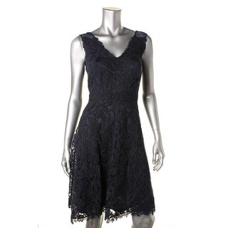 Tadashi Shoji Womens Petites Lace Double-V Cocktail Dress