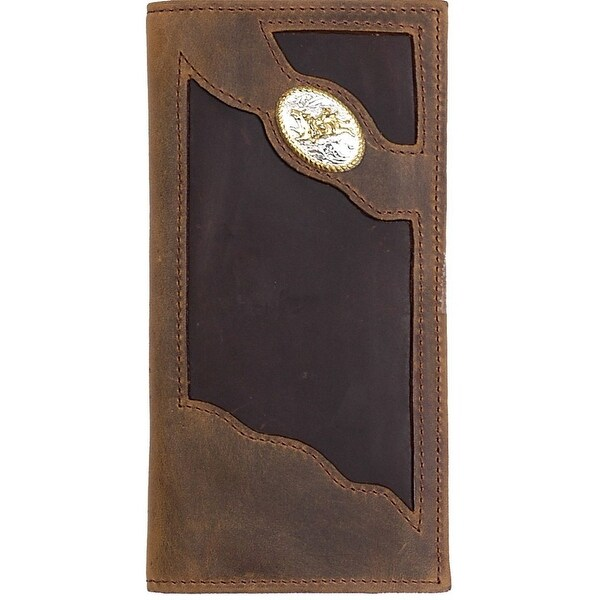 3D Western Wallet Men Leather Rodeo Bullrider Brown - One size