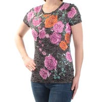 INC Womens Black Sequined Floral Short Sleeve Scoop Neck Top  Size: S