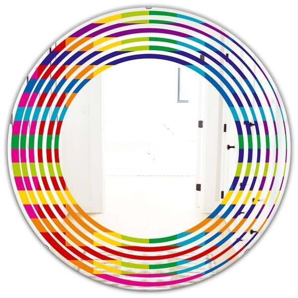 Designart Rainbow Colors Simple Geometric Pattern Modern Round Or Oval Wall Mirror Wave Multi On Sale Overstock 29870773