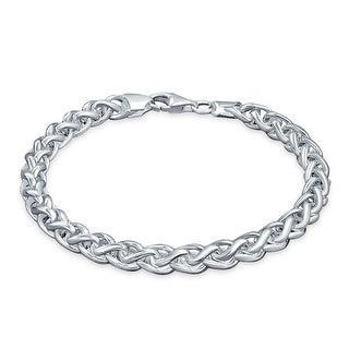 Bling Jewelry Silver Bali Style 180 Gauge Wheat Chain Mens Bracelet 8in