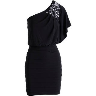 B. Darlin Womens Juniors Cocktail Dress Embellished One Shoulder