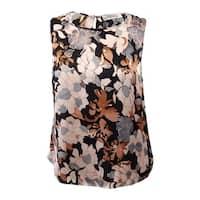 Kasper Beige Black Womens Size 1X Plus Floral Print Satin Blouse
