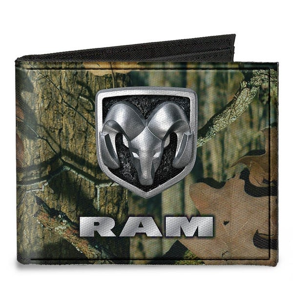 Ram Logo Mossy Oak Break Up Infinity Silver Canvas Bi Fold Wallet One Size - One Size Fits most