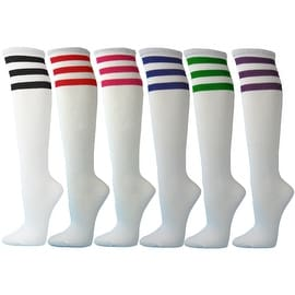 Girls / Kids Cotton REFEREE Knee High Socks, White with Triple Color Stripes(6 Pairs)