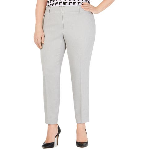 Calvin Klein Womens Plus Dress Pants Twill Slim - Grey