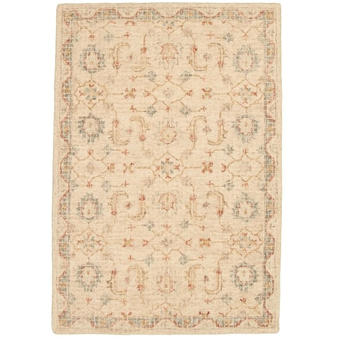 ECARPETGALLERY Hand Tufted Abstract Art Ivory Wool Rug - 5'0 x 7'6