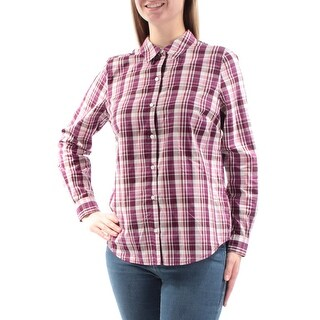 Womens Purple White Plaid Cuffed Collared Casual Button Up Top Size 8