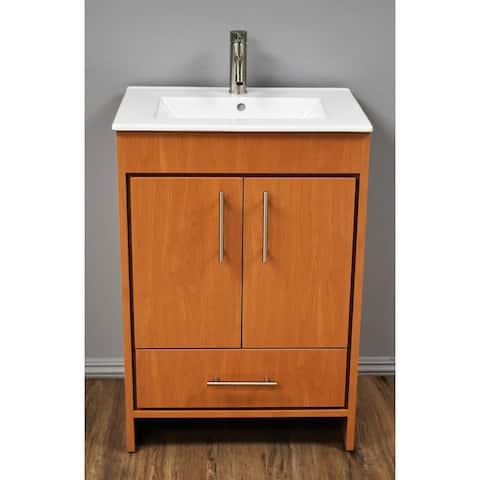 Volpa USA Pacific 24-inch Honey Maple Freestanding Bathroom Vanity Set